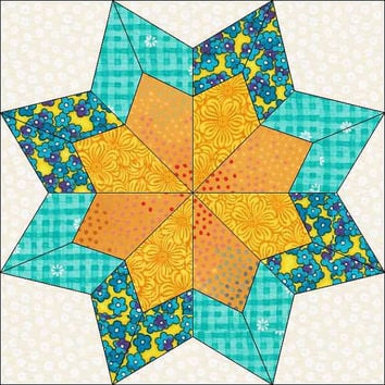 Double Star- Pieced Block - Simple Block - Quilt Pattern  - Pattern Quilt - Instant Download Pattern - Star Block - Double Star Block