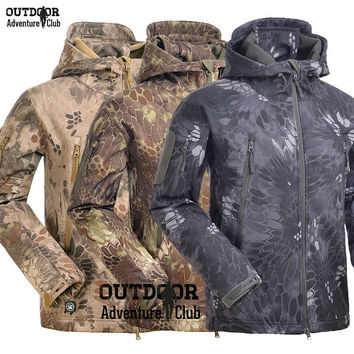 Dmart7dealTactical Snake Camouflage Army Jacket Men Military Shark V4.5 Waterproof Soft Shell Outdoors Jackets Fleece Camo Hunt Clothes