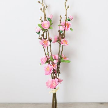 """Artificial Flowers Bundle of Pink Cherry Blossoms - 15"""" Tall"""
