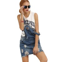 Summer Woman Raw Hem With Pockets Denim Overall Short Dress