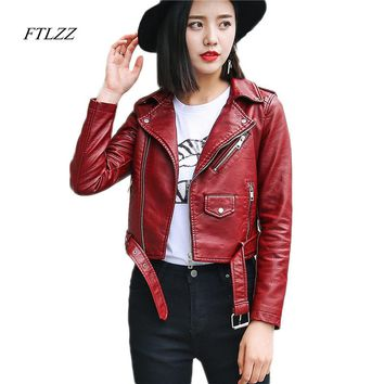 Womens Pu Leather Fashion Motorcycle Coat Short Faux Leather Biker Jacket