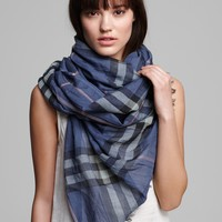 Burberry Giant Check Wool/Silk Gauze Scarf | Bloomingdale's