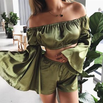 Silky Off-the-Shoulder Two-Piece Romper