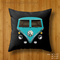 """Decorative cushion Cute retro Blue, green, yellow, pink, red VW Volkswagen Double Side Pillow Case cover 16"""" 18"""" 20"""" by ThreeSecond2014"""