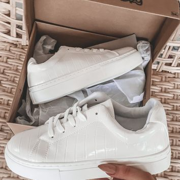 Fear None White Crocodile Sneakers