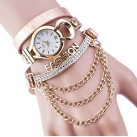 Women's Fashion Letters Chain Bracelet Wrap Watch