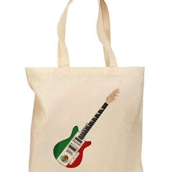 Mexican Flag Guitar Design Grocery Tote Bag by TooLoud
