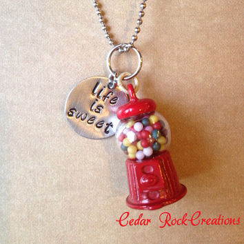 Gumball Machine Necklace Life Is Sweet Hand Stamping