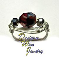 DWJ0266 Lovely Czech Glass Burning Coals Solitaire Silver Wire Wrap Ring All Siz