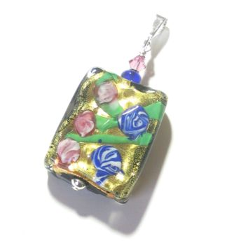 Murano Glass Colorful Millefiori Black Pendant