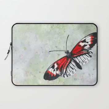 Papillon rouge et blanc / Red and white Butterfly Laptop Sleeve by Savousepate