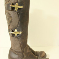 GOFFREDO FANTINI Dark Brown Leather & Canvas Buckled Knee High Boots - Size 36.5