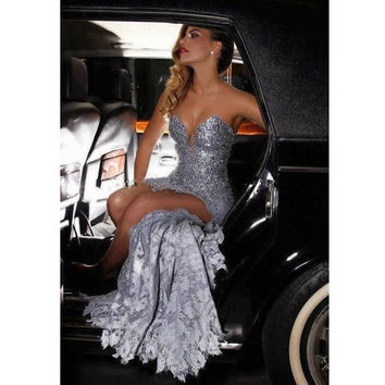Silver High Low Sequin Sweetheart Strapleess Prom Dress With Lace Dress Short Front In Back Vestido Curto