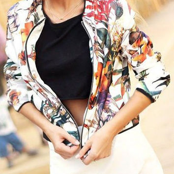 White Floral Print Zippered Jacket