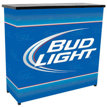 Bud Light Metal 2 Shelf Portable Bar Table w- Carrying Case