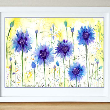 Art Print  Blue cornflowers, Wild flowers Painting,  Landscape Print, Home & Wall decor