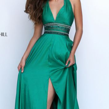 Halter Neck Slit Gown by Sherri Hill