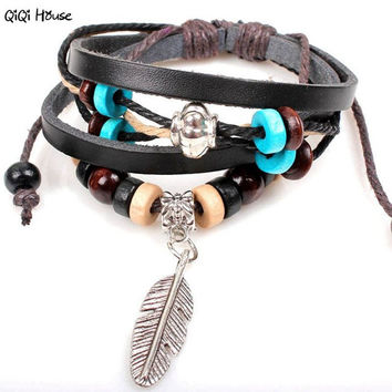 Bracelet Retro Indian Style Men Jewelry Leather Boho Mens Bracelets Erkek Bileklik#A11