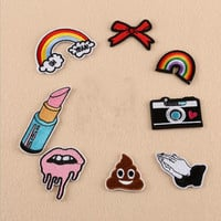 Rainbow Lip Balm Camera Poo Patches Iron On Embroidered Patch For Clothing Stick On Badge Paste For Clothes Sew On Bag Pants