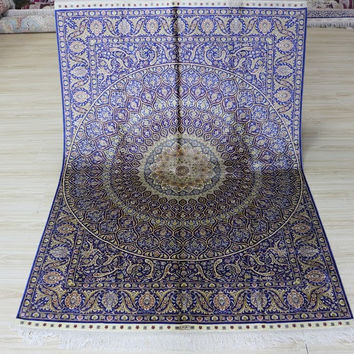 4'x6' Hand Woven Pure Silk Rug Classic Persian Large Floral Medallion Pattern (SYX-4615, Blue & Multi)