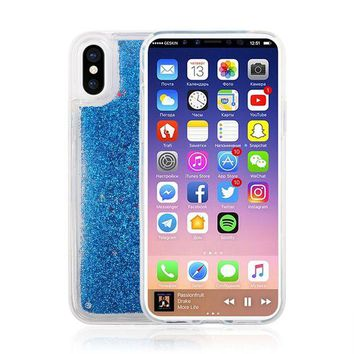 VONEF3L iPhone X Case,Bling Sparkle Shiny Moving Quicksand Slim Fit Cute Clear TPU Bumper Protective Phone Cover Case