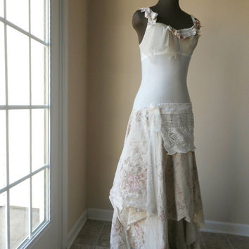 Bella Wedding Gown Fantasy Cream Drop Waist Tattered Ballgown Alternative Wedding Dress Eco Friendly Wispy Boho Gatsby Shabby Chic Roses