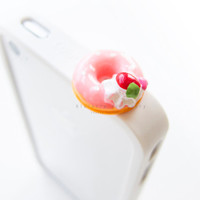 Pink Strawberry Donut with Fruit Topping Anti Dust Plug Cover Stopper for iPhone Samsung HTC Smartphone Mobile Accessory