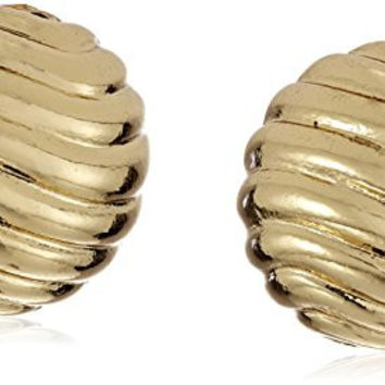 "Napier ""Heavy Metal"" Gold-Tone Textured Round Button Clip-On Earrings"