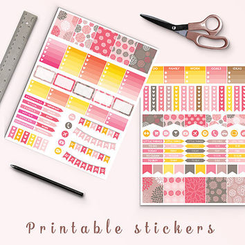 50% OFF Coral Flowers Stickers Printable Planner Stickers Erin Condren Box Stickers Page Flags Weekend Banners To Do Stickers Weekly Kit