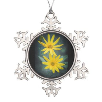 Two yellow flowers of Jerusalem artichoke Snowflake Pewter Christmas Ornament
