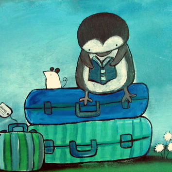 Kids Wall Art, Penguin and Mouse Painting, Original Artwork, Childrens Room Decor, Nursery Art, Baby Art, Travel Art, Whimsical Art