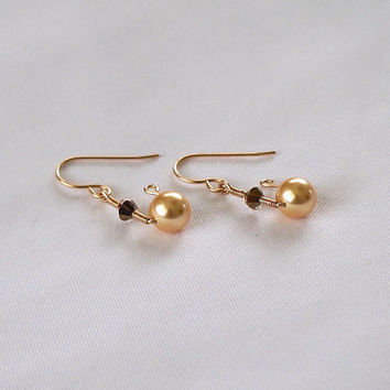 Gold Pearl Dangle Earrings, Gold Wedding, Swarovski Pearl Crystal Drop Earrings, 14kt Gold Filled Coiled Earrings, Wedding Jewelry