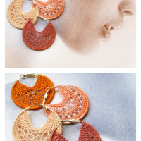 Crocheted Hoop earrings 50 mm /Orange,melon,salmon,brick/Choose your color/Crochet Jewelry/Fashion jewelry/Spring colors