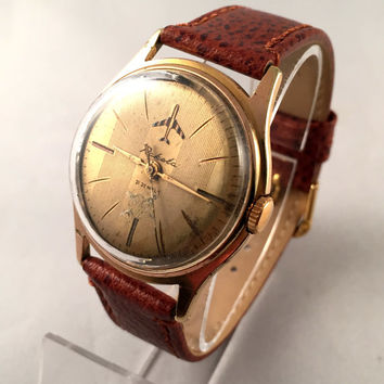 "VERY RARE Vintage men's watch called ""Raketa AIRPLANE"" (eng.Rocket) mechanical watch .Comes with new leather band."