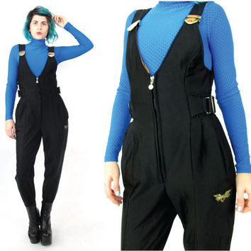 80s Black Ski Jumpsuit Vintage Womens Winter Snow Suit Stirrup Jumpsuit Shiny Overalls Bodysuit One Piece Zipper Petites Pantsuit (XS)