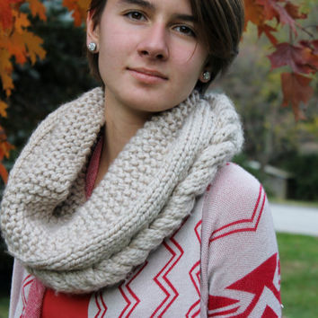 Chunky, Infinity, Eternity, Tan Hand Knit Loop Scarf Cowl for Teen Girls, Juniors, and Women