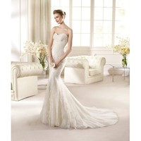 Newest Sweep Mermaid Sweetheart Neckline Lace Wedding Dress