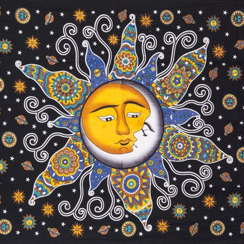 Psychedelic Celestial Sun Moon Stars Bohemian Yoga Wall Bed Tapestry