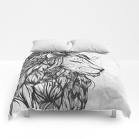 Poetic Lion B&W Comforters by LouJah