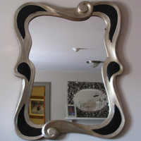 Unusual Antique Silver and Black Decorator Mirror
