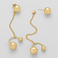 Asymmetric Chain Metallic Triple Pearl Drop Earrings Gold