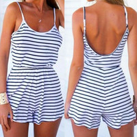 Striped Backless Women's Romper