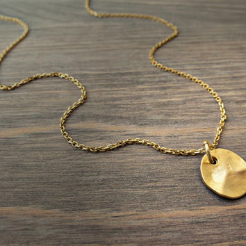 Gold coin necklece, Small coin necklace, Hammered gold coin, Minimalist necklace, everyday jewelry, Gold disc necklace, Hammered gold disc.