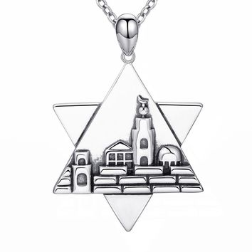 925 Sterling Silver Jerusalem Charm the Star of David Pendant Necklace with Oxidation