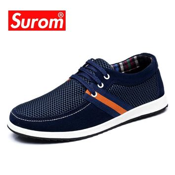 SUROM Summer Male Shoes Adult Breathable Mesh Krasovki Lace up Driving Boat Shoes Light Men's Casual Shoes Hot sale