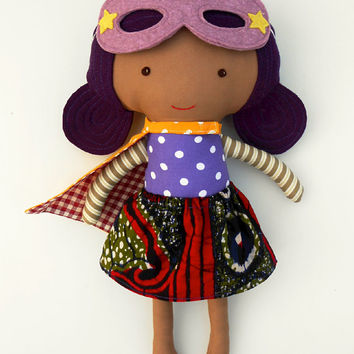 AFRO DOLL, ragdoll, superhero doll, fabric dolls, dolls, cloth dolls, handmade doll, afro american doll, doll like me, custom doll, softtoy