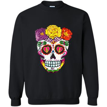 Colorful Flower Sugar Skull Day Of The Dead Costume  2 Printed Crewneck Pullover Sweatshirt