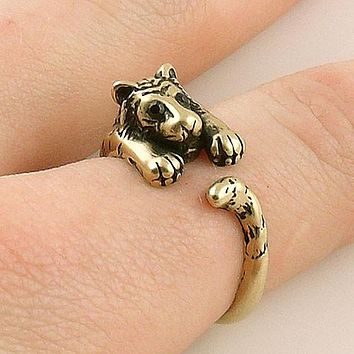 Animal Wrap Ring - Tiger - Yellow Bronze - Adjustable Ring