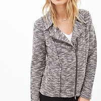 LOVE 21 Marled Boucle Moto Jacket Black/Ivory