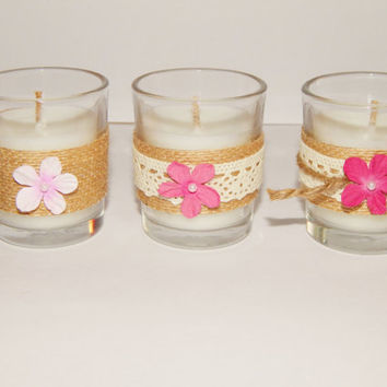 10 Rustic Wedding Favors - Pink Rustic Wedding Decor - Party Favor - Rustic Candles